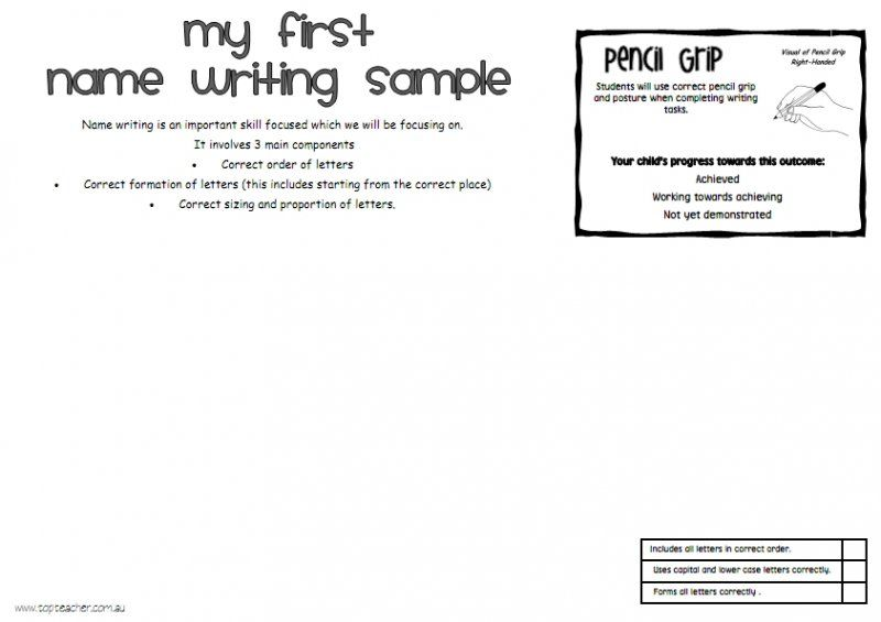 Use this resource to display and assess your students first name - sample white paper