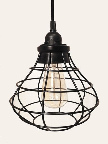 Tesla V Round Industrial Cage Pendant Lamp With Plug In Cord