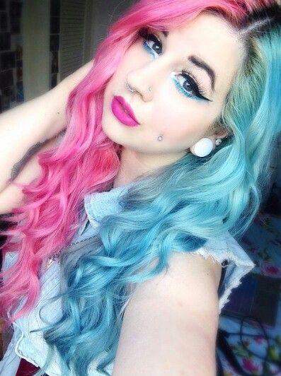 Half pink half blue dyed hair