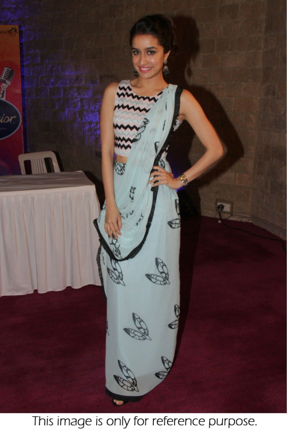 3ec4fe997aa Get Beautiful Look With Bollywood Style Shraddha Kapoor Georgette Sky Blue  Saree @LooksGud #bollywood #ShraddhaKapoor #Saree