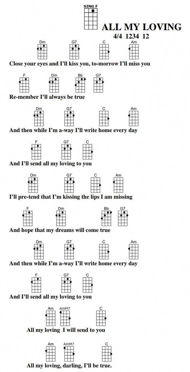All My Loving The Beatles Doctoruke Com Learnukulele Ukulele Songs Blues Guitar Chords Guitar Chords