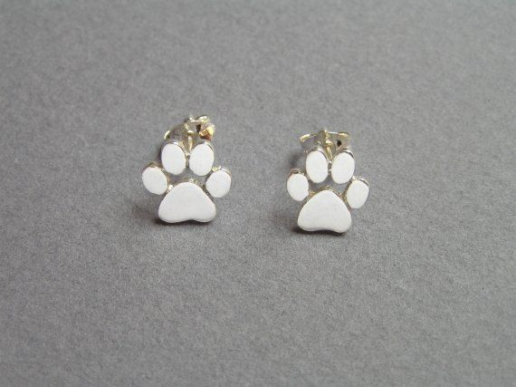 Paw Print Earrings Silver Stud Earrings Cats And Dogs
