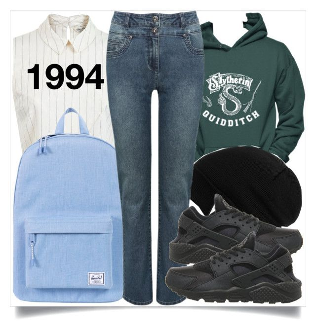 """""""back to school"""" by madeinmalaysia ❤ liked on Polyvore featuring Miss Selfridge, Herschel Supply Co., Vans, M&Co and NIKE"""