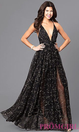 621218c1e9cf Long Prom Dress with Low V-Neck and Adjustable Straps | Dresses ...