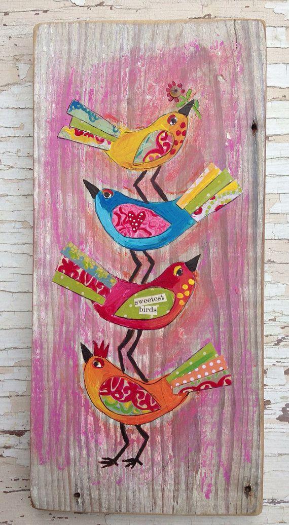 Pink Boho Birds Folk Art Mixed Media Wall On Etsy 54 00