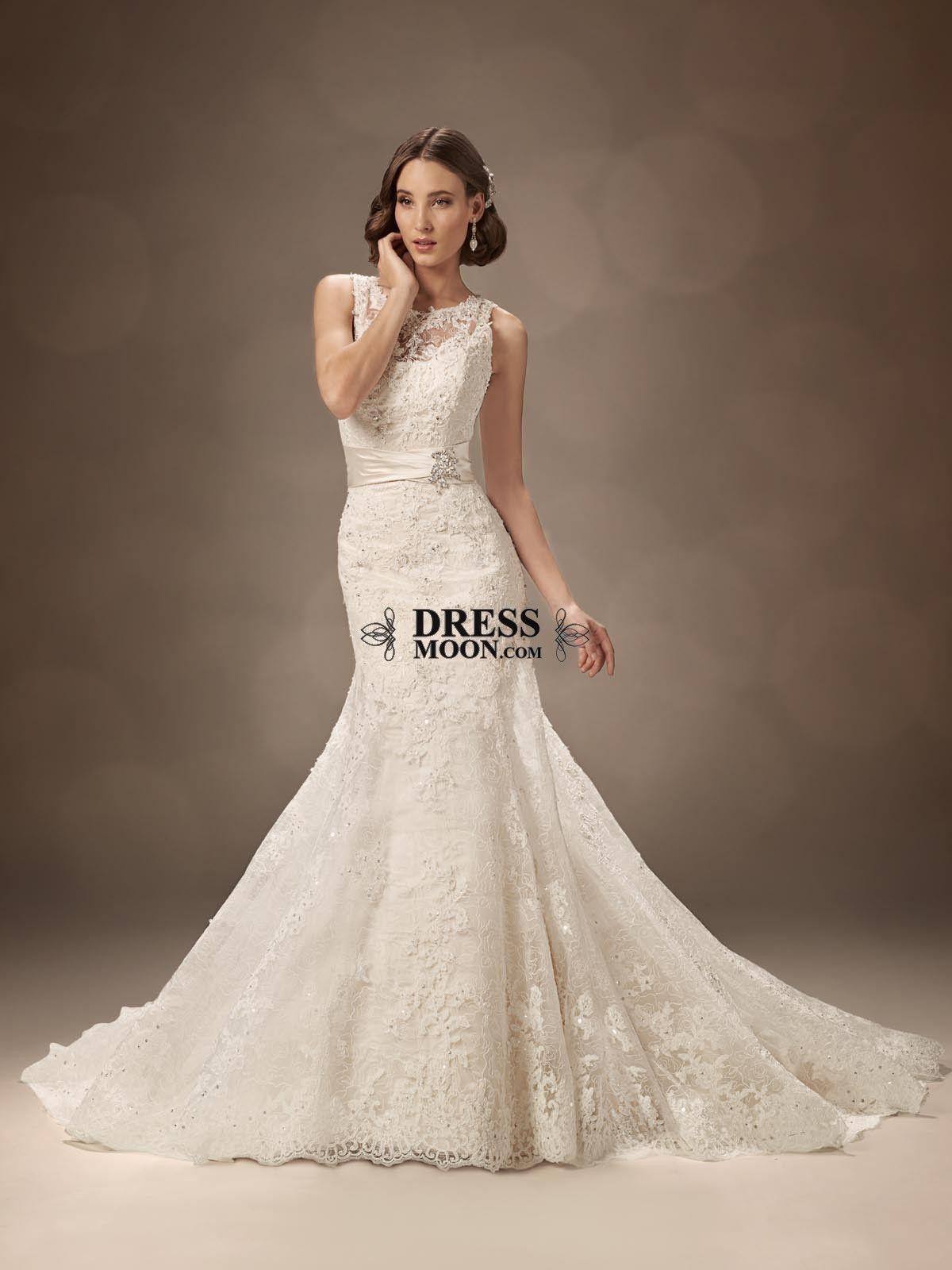 Satin with lace appliques chapel train mermaid wedding dress