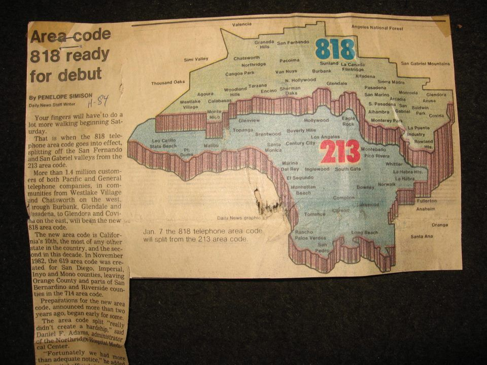 Newspaper clipping of area code change for the SFV | San Fernando