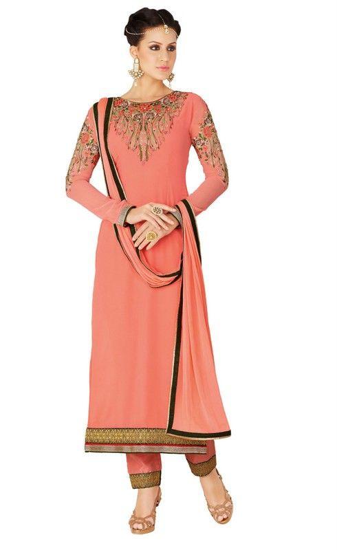 Dark Peach Colour Georgette Embroidered Work Designer Salwar Suit