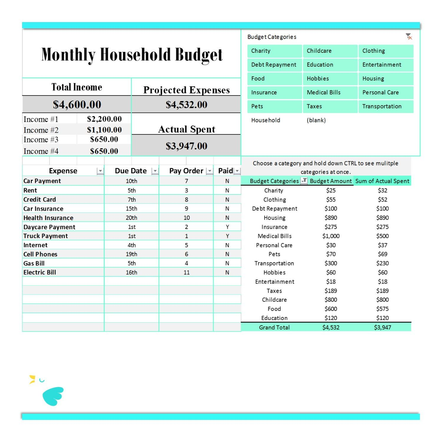 Excel Family Budget Expense System Income Tracker