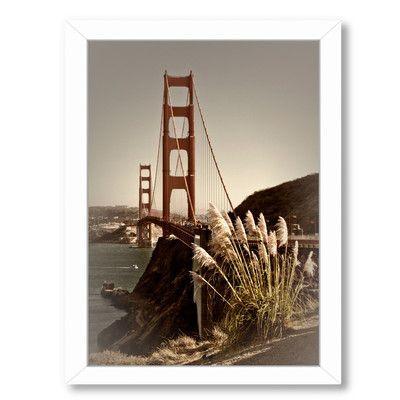 Americanflat Vintage Style Golden Gate Bridge By Melanie Viola Framed Photographic Print