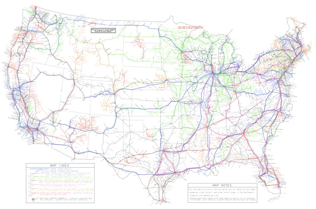 Route Map Train travel usa