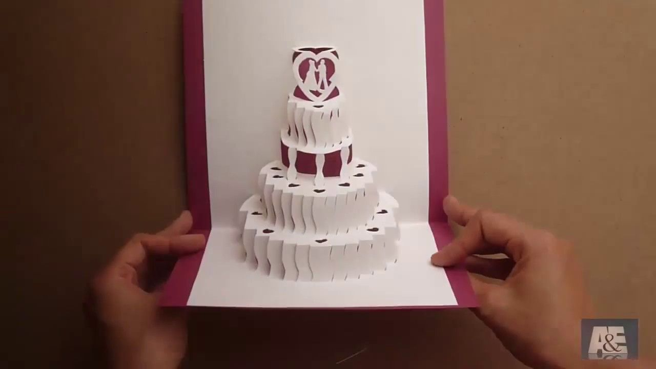 How To Make A Amazing Wedding Cake Pop Up Card Tutorial Free Template With Pop Up Wedding Card Temp Pop Up Card Templates Wedding Card Templates Pop Up Cards