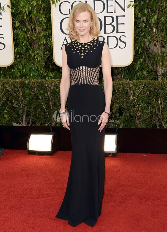 Chic Sheath Black Cut Out Brush Nicole Kidman Golden Globe Dress. See More Golden Globe Dresses at http://www.ourgreatshop.com/Golden-Globe-Dresses-C903.aspx