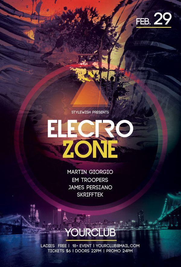 Electro Zone Flyer Electro music, Psd templates and Flyer design - electro flyer