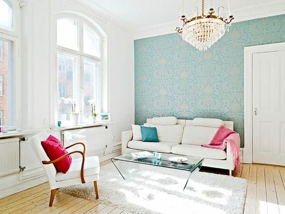 Stunning White Pink And Turquoise Living Room That Chandelier