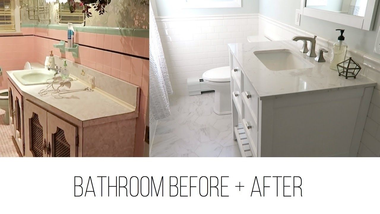 Light Bright Bathroom Makeover From 1950 S Pink And Green To