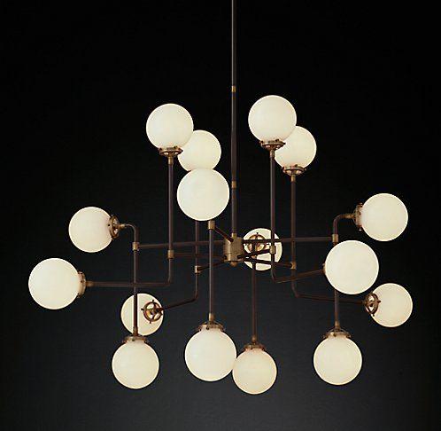Bistro globe milk glass chandelier in brass 16 light rh modern bistro globe milk glass chandelier in brass 16 light rh modern aloadofball Images