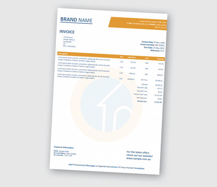 Xero Custom Invoice With Transparent Background Image And Completely