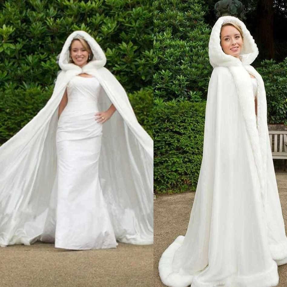 2016 Plus size DHgate Winter Bridal Cape Faux Fur Wedding Cloaks ...