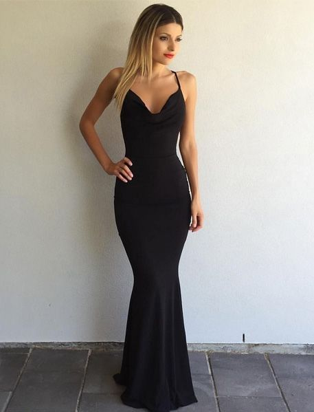 Sexy Mermaid Open Back Black Prom Dress d10dfa7f8