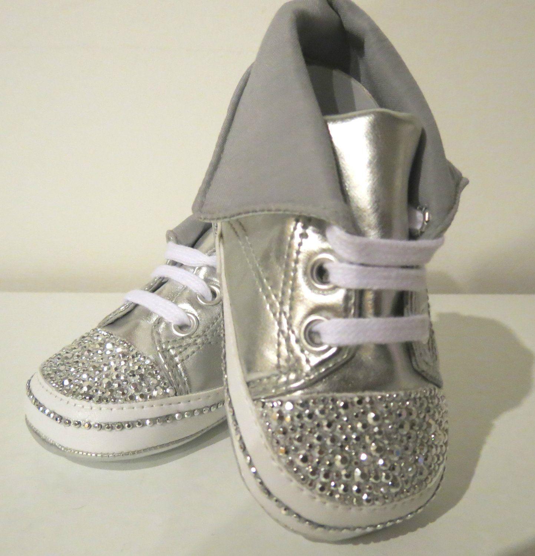 Baby Girl Newborn Infant Silver Rhinestone Crystal Bling Crib Shoes