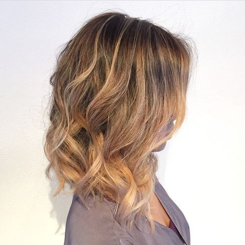 Long Angled Bob Wavy With Highlights More