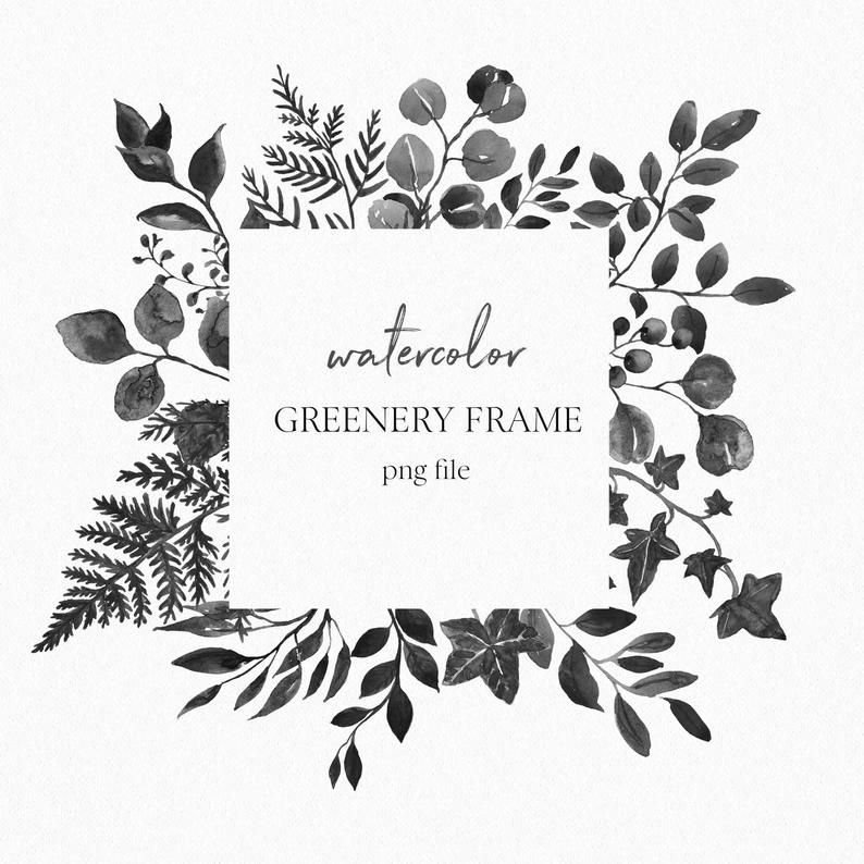 Watercolor Greenery Frame Clip Art Black White Wreath Etsy In 2021 Wreath Drawing Floral Border Design Frame Clipart