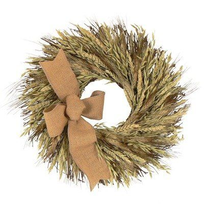 """Urban Florals 3835 Harvest Glow Wreath Size: 18"""" by Urban Florals. $46.00. Urban Florals 3835 Features: -Hand woven wreath designed with black bearded wheat, oats on a natural twig base. -Accented with an organic burlap ribbon. Size: 18"""""""