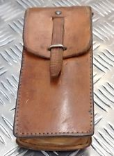 Genuine Vintage Swedish Army Brown or Tan Leather Pouch with belt loop - Grade 1