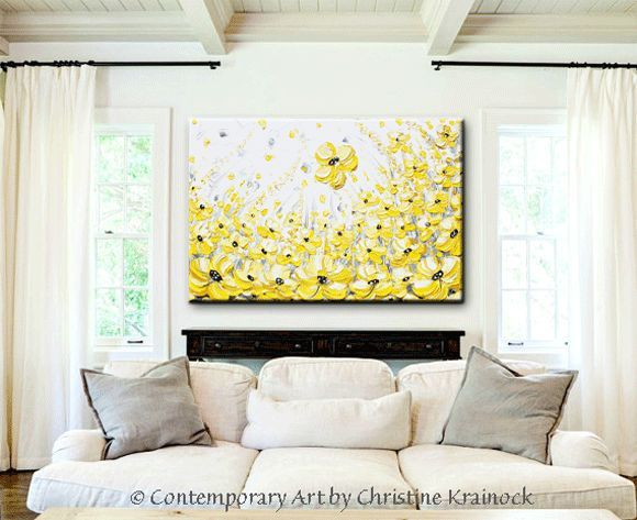 GICLEE PRINT Art Yellow Grey Abstract Painting Modern Coastal Canvas ...