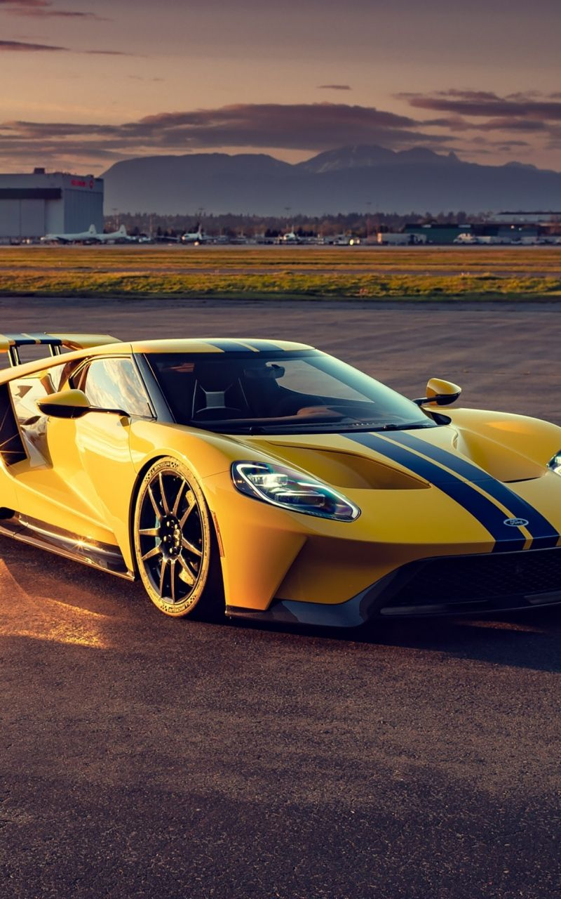 800x1280 Yellow Ford GT, 2020 wallpaper in 2020 Ford gt