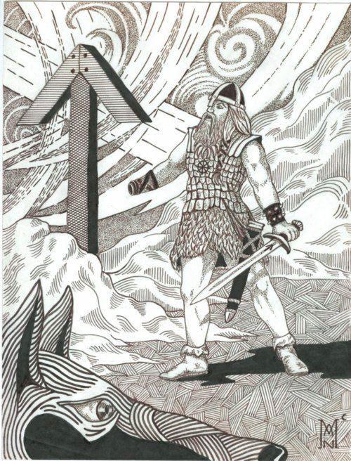 Image of Tyr Brave God and Tiwaz Rune