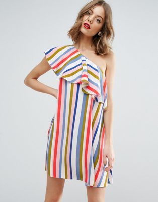 b73680828b1 ASOS Stripe Ruffle One Shoulder Mini Dress
