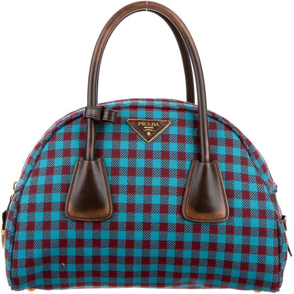 Pre Owned Prada Plaid Bowler Bag 695 Liked On Polyvore Featuring Bags