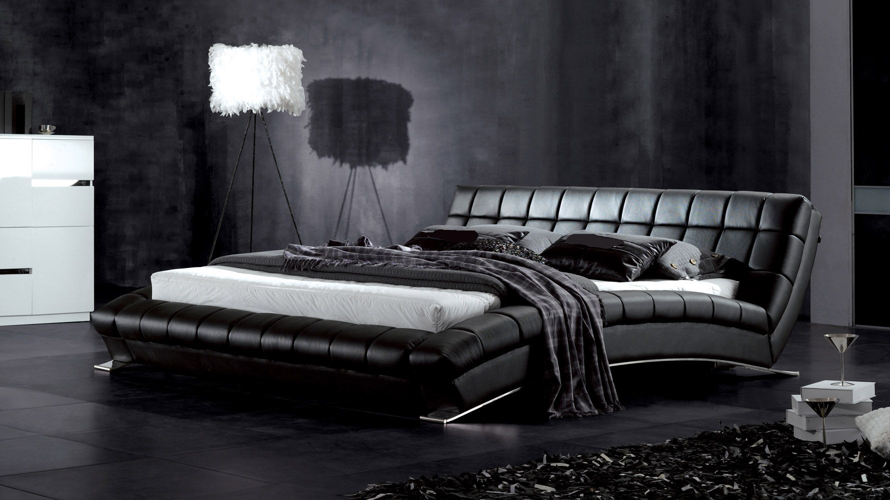 Adonis Leather Bed  Bedroom Collection  Black bedroom