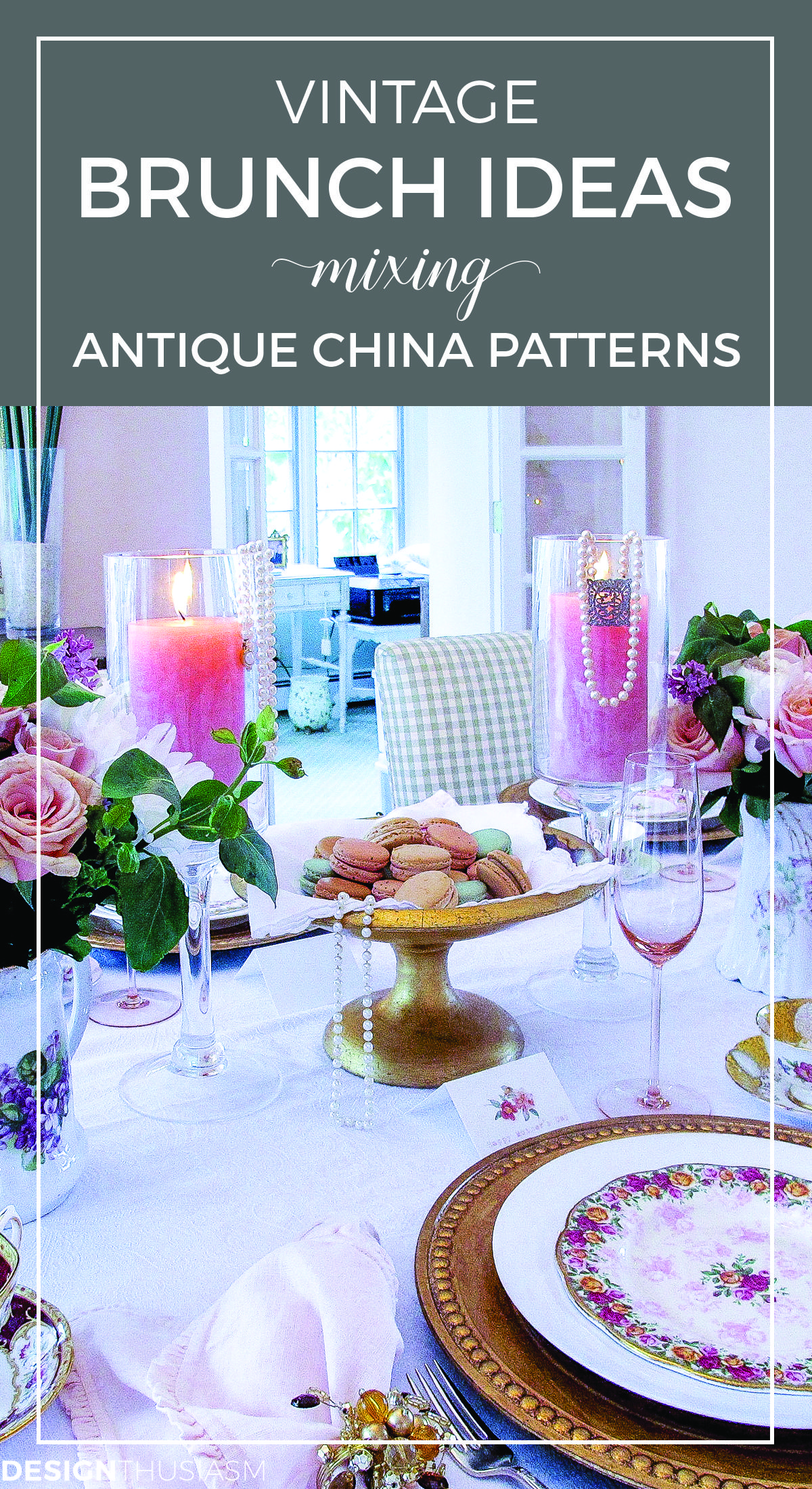 Vintage Party Ideas Mixing Antique China In A Tablescape Brunch