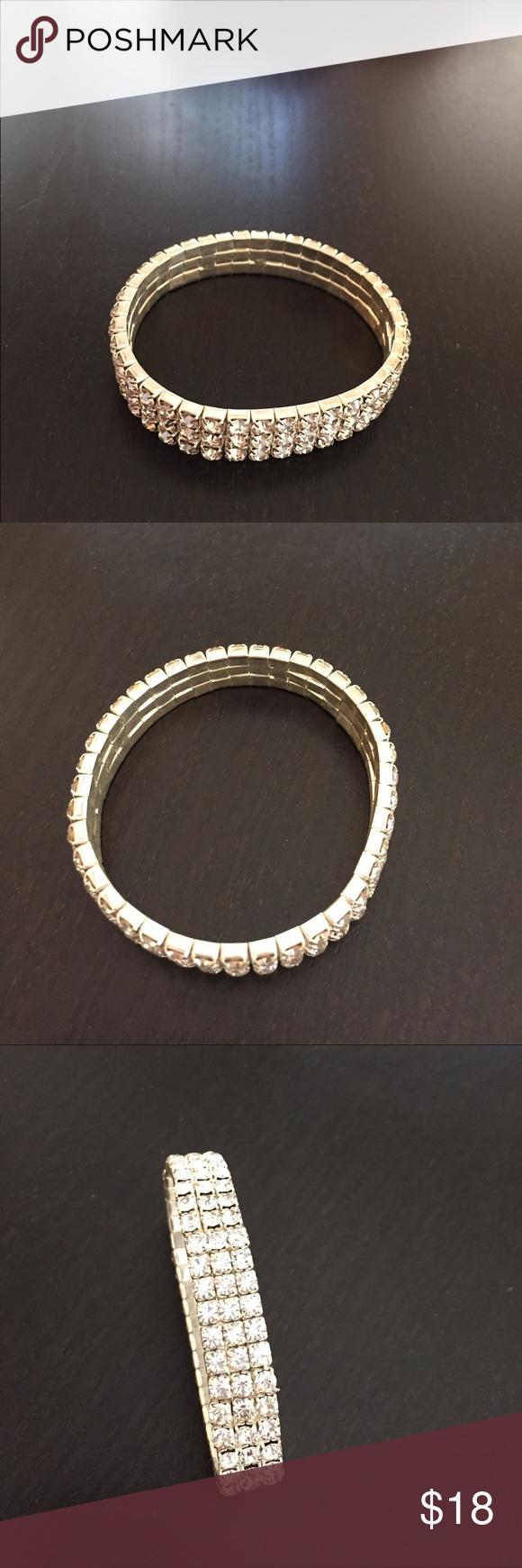 Silver bracelet Has rhinestones,never used Jewelry Bracelets
