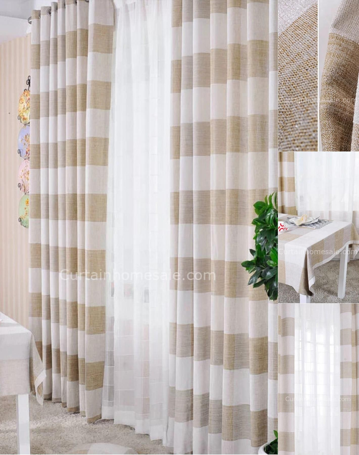 Country Style Striped Light Brown Patterned Curtains Of Chenille
