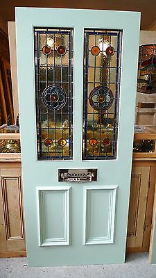 Solid Engineered Hardwood Stained Glass Front Door Victorian