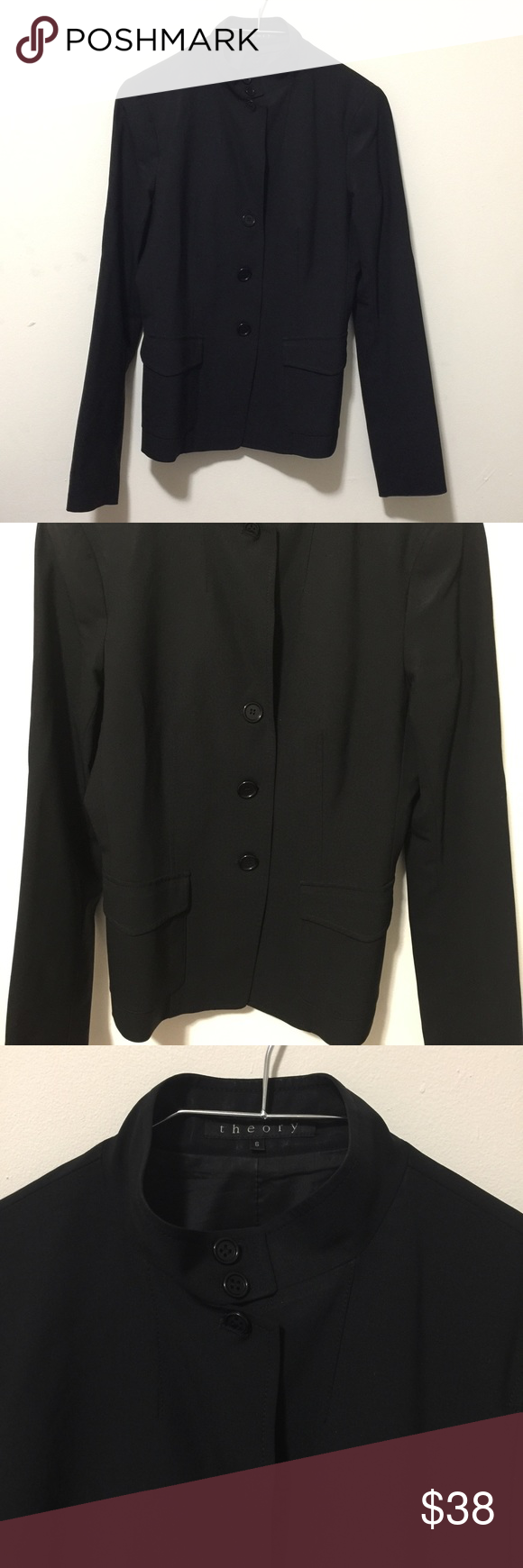 Theory Black Glossy Blazer Motor Style Size 6 Excellent Used Condition No Flaws 6 Button Black Glossy Shimmering Blazer Size 6 Ar Clothes Design Style Blazer