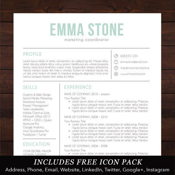 Resume Template, Modern Design, Mac or PC, Word, Free Cover Letter ...