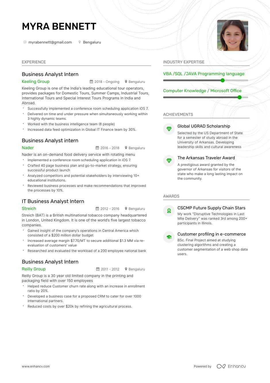 Example Of A Resume For Internship In 2021 Business Analyst Business Resume Resume Examples