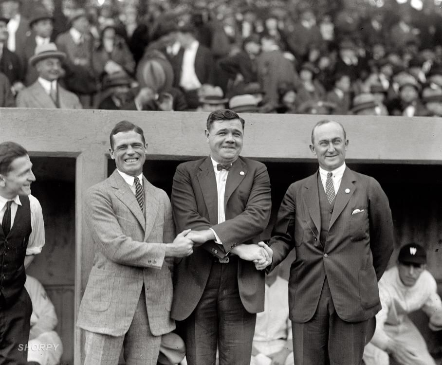 Sisler, Ruth, Cobb: 1924  October 4, 1924. George Sisler, Babe Ruth and Ty Cobb at the first game of the 1924 World Series at Griffith Stadium.  junipergallery Fine-Art Prints by Juniper Gallery