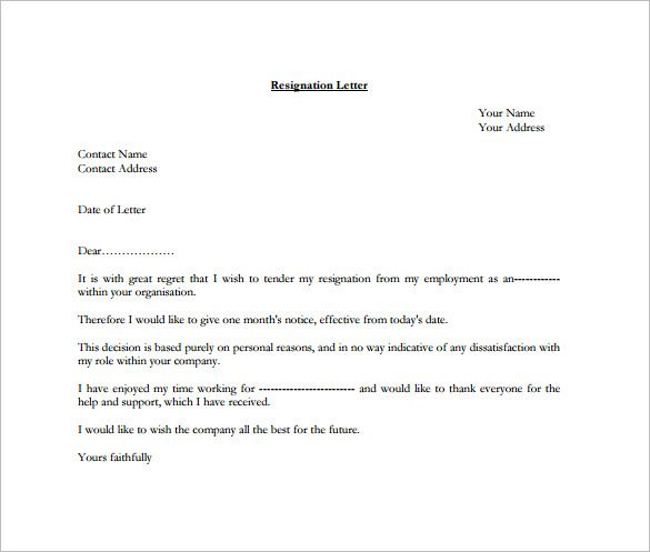 Formal Resignation Letter Template u2013 10+ Free Word, Excel, PDF - free templates for letters
