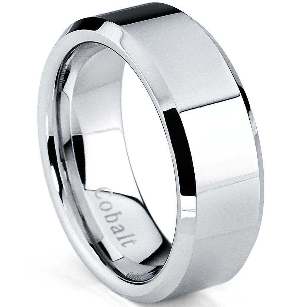 Cobalt Chrome Men's High Polish Wedding Band Ring,fort Fit 8mm, Size 9