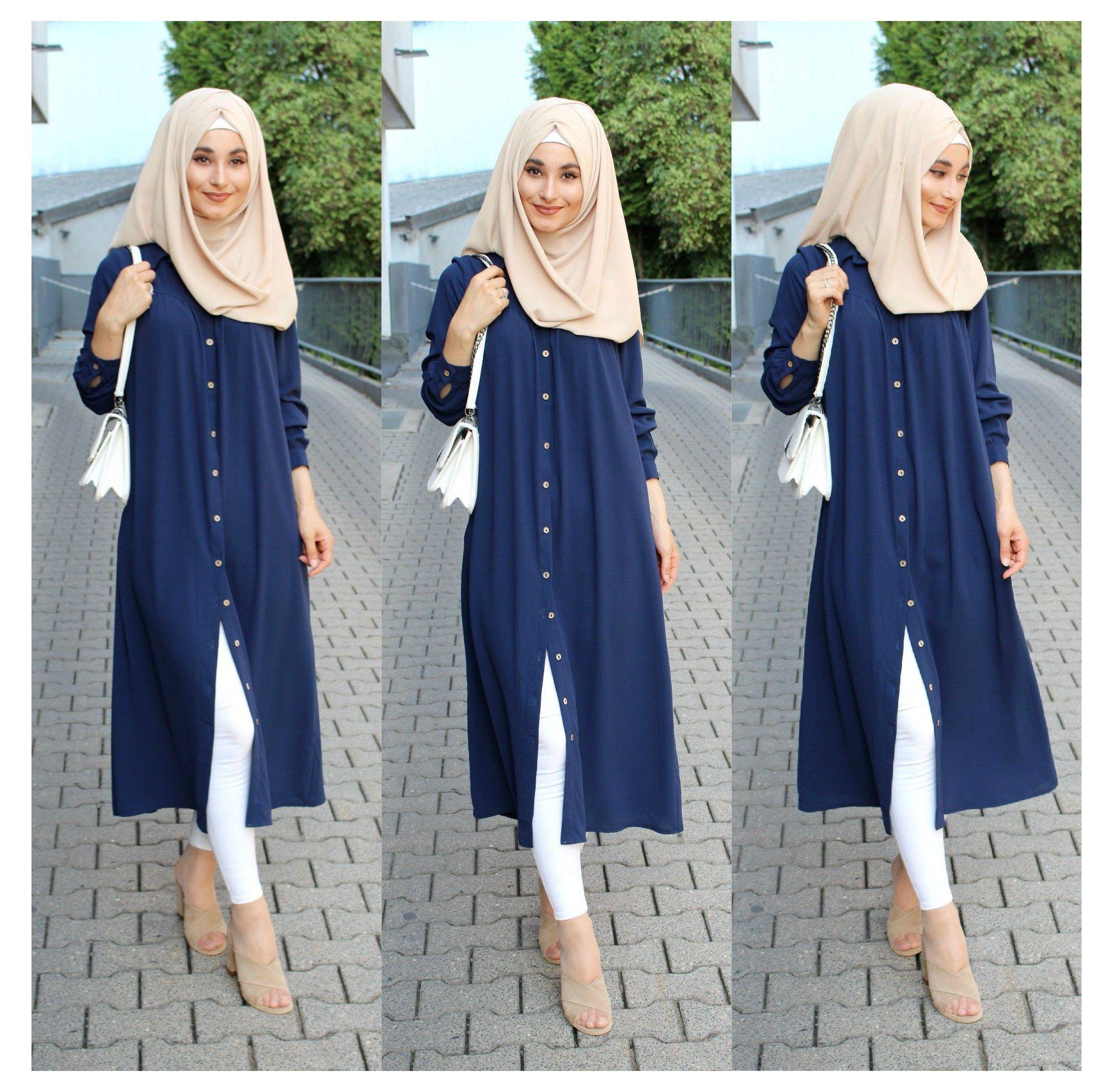 long #tunic #hijab #longtunichijab blue long tunic hijab  Muslim