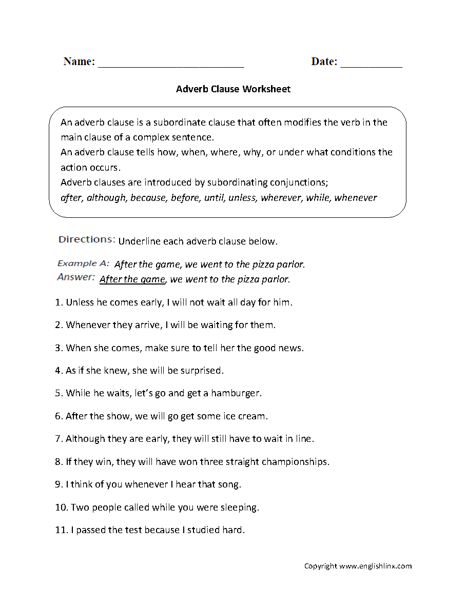 Adverb Clause Worksheets