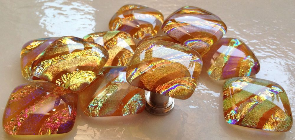 12 DICHROIC AMBER Fused Glass PENDANT/CAB Accent Tile Drawer Pulls ...