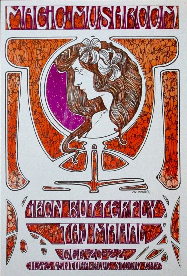 Iron Butterfly Taj Mahal At The Magic Mushroom 11345 Ventura Blvd Studio City Ca Art By Bob M Music Festival Poster Vintage Concert Posters Band Posters