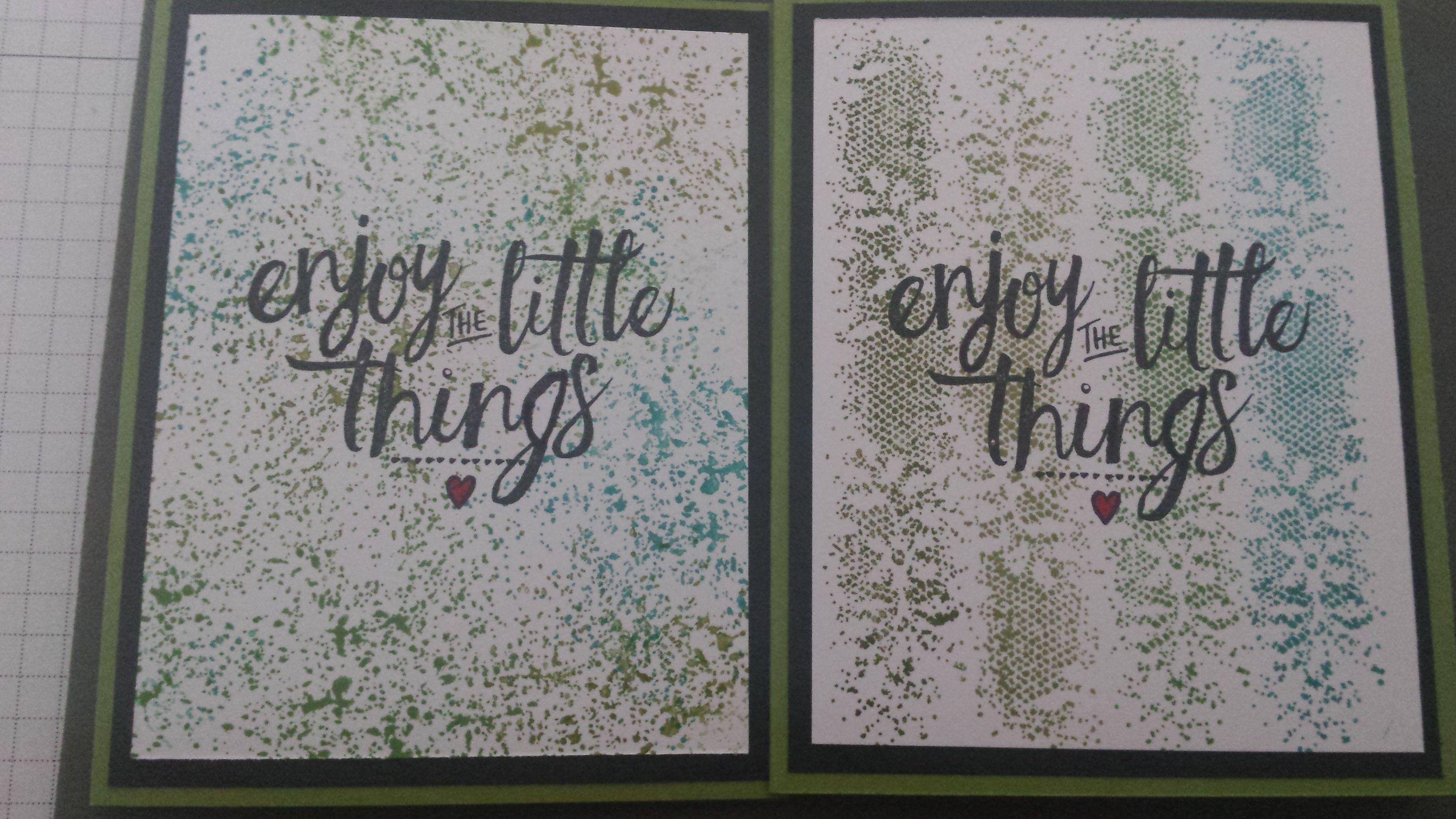 Enjoy the little things uit de Layering love set van Stampin up met 4 tinten groen en achtergrond stempels uit de touches of texture set [Made by Mandy]